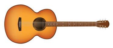 Verklig akustisk gitarr på en vit bakgrund Fotografering för Bildbyråer