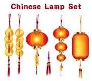 Verklig kinesisk fastställd vektor för lykta och för guld vektor illustrationer