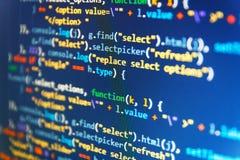 Verklig kod för programvaruutveckling Körande datordata/WWW programmera It-affär Kod Css3 på en färgrik bakgrund data royaltyfri fotografi