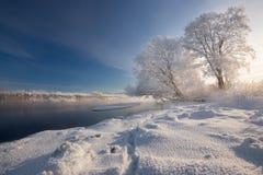 Verklig ryssvinter MorgonFrosty Winter Landscape With Dazzling vit snö, rimfrostflodbank med spår och blå himmel dimma Arkivbild