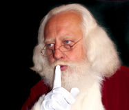Verklig-skäggigt Santa ordstäv Shhh! Arkivbild