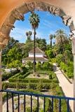 Verkliga Alcazarträdgårdar i Seville, Spanien. Arkivfoto