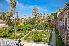 Verkliga Alcazarträdgårdar i Seville, Spanien. Arkivbild