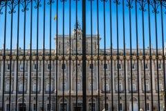 Verkliga Palacio - spansk kunglig slott i Madrid Royaltyfri Fotografi