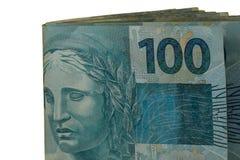 100 verkliga pengaranmärkningar från Brasilien Royaltyfri Foto