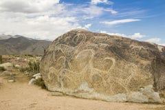 Verkliga petroglyphs på den naturliga stenen som finnas i stäppen, på en suddig bakgrund av härliga berg arkivfoton