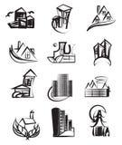 verkliga symboler för abstrakt arkitektoniskt sammansättningsgods Arkivbilder