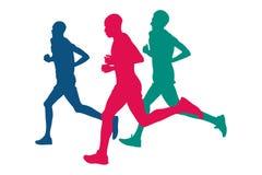 Verkliga tre löpare vektor illustrationer