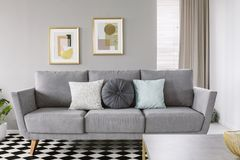 Verkligt foto av en grå soffa med svartvita kuddar i en livi royaltyfria foton
