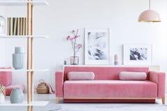 Verkligt foto av en rosa soffa med kuddar som är främsta av en hylla med fotografering för bildbyråer