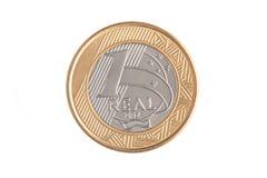 Verkligt mynt för brasilian 1 Arkivbilder