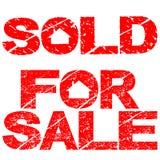 Verkocht en voor verkoopzegels Stock Foto's