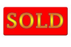Verkocht Geel en Rood Teken - Royalty-vrije Stock Afbeelding