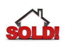 Verkocht huis stock illustratie