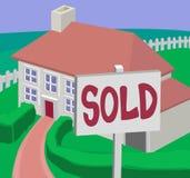 Verkocht huis royalty-vrije illustratie
