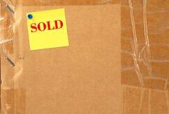 Verkochte doos Stock Fotografie