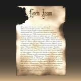 Verkohltes Papier Papyrus, ein altes Manuskript Schablone, Beispiel Stockfoto