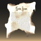Verkohltes Papier Papyrus, ein altes Manuskript Schablone, Beispiel Lizenzfreie Stockfotografie