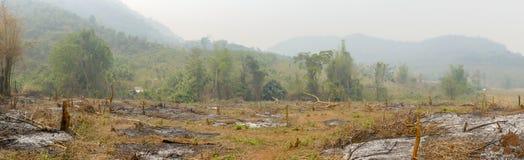 Verkoold landschap van landelijk Laos royalty-vrije stock afbeeldingen