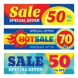 Verkoop abstracte vectorbanner ser - korting tot 50% - 70% Verkoop vectorbanners De abstracte achtergrond van de verkoop Super gr Royalty-vrije Stock Foto's