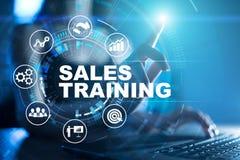 Verkoop, Bedrijfsontwikkeling en marketing concept die op het virtuele scherm opleiden royalty-vrije stock afbeelding