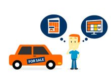 Beter een Auto op verkoop Krantenadvertenties of Websiteadvertenties? Stock Afbeelding