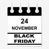 Verkoop Black Friday 24 November Het blad van de kalender V Stock Fotografie