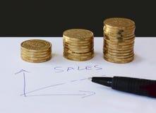 Verkoop en bedrijfsgrafiek - overhandig getrokken met ballpoint op Witboek en stapels van gouden geldmuntstukken in het stijgen o stock afbeeldingen