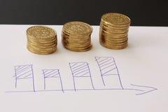 Verkoop en financiële bedrijfsgrafiek - overhandig getrokken met ballpoint op Witboek en stapels van gouden geldmuntstukken die w royalty-vrije stock fotografie
