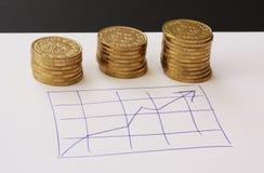 Verkoop en financiële bedrijfsgrafiek - overhandig getrokken met ballpoint op Witboek en stapels van gouden geldmuntstukken die w stock afbeeldingen
