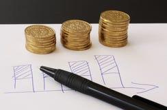 Verkoop en financiële bedrijfsgrafiek - overhandig getrokken met ballpoint op Witboek en stapels van gouden geldmuntstukken die w royalty-vrije stock afbeelding