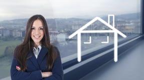 Verkoop en huur van huizen en gebouwen royalty-vrije stock afbeeldingen