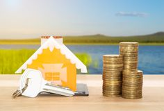 Verkoop en huureigenschappen leningen stock afbeelding