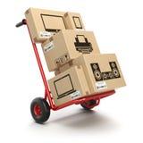 Verkoop en levering van het concept van computertechnieken Handvrachtwagen en c Stock Afbeeldingen