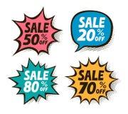 Verkoop, etiketreeks Zaken, het winkelen, wandelgalerijsymbool in pop-art retro grappige stijl Vector illustratie vector illustratie