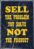 Verkoop het probleem u niet het product oplost Retro Etiket met Kalligrafische Elementen stock illustratie