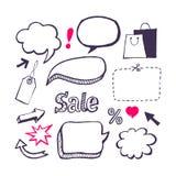 Verkoop, het winkelen reeks. De hand trekt Stock Foto's