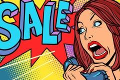 Verkoop, het winkelen seizoen Vrouwenschreeuwen in telefoon stock illustratie