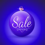 Verkoop, Kerstmisbal. Vectorillustratie. Royalty-vrije Stock Afbeelding