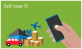 Verkoop nu met hand - gehouden smartphone op de groene achtergrond Vlakke vectorillustratie stock illustratie