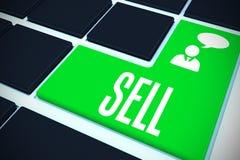 Verkoop op zwart toetsenbord met groene sleutel Royalty-vrije Stock Afbeeldingen