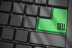 Verkoop op zwart toetsenbord met groene sleutel Royalty-vrije Stock Afbeelding