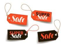 Verkoop, prijskaartje Het winkelen, handel, goedkoop etiket Van letters voorziende Vectorillustratie royalty-vrije illustratie