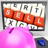 Verkoop Sleutels op Monitor die online Marketing tonen stock afbeeldingen