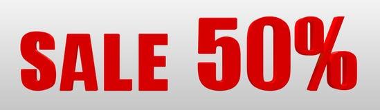 Verkoop 50 Tekstsignage in de opslag over de verkoop 3D Illustratie stock foto