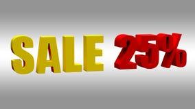 Verkoop 25 Tekstsignage in de opslag over de verkoop 3D Illustratie stock afbeeldingen
