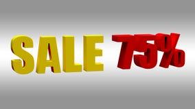 Verkoop 75 Tekstsignage in de opslag over de verkoop 3D Illustratie stock fotografie