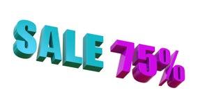Verkoop 75 Tekstsignage in de opslag over de verkoop 3D Illustratie royalty-vrije stock foto's