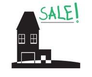 Verkoop two-storey huis met een garage Royalty-vrije Stock Afbeelding
