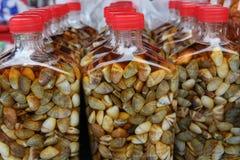 Verkoop van ingelegde shell op de Ingelegde markt stock afbeelding
